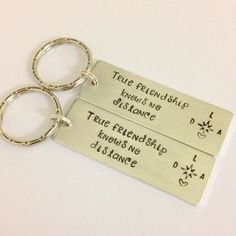 Long distance friendship set, Personalized key chain set, hand stamped key chain set, best friend gift, friendship gift, by SavannahRaeDesign on Etsy