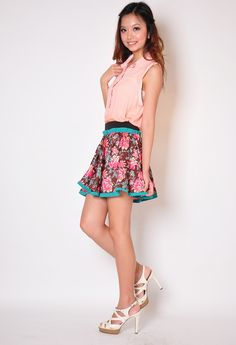 ORIENTAL FLORAL PRINTS SKIRT IN BROWN S$27.90 from: Lace And Buttons