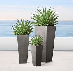 RH& Salento Tapered Planters:At once modern and rustic, our faux-stone planters pair geometric silhouettes with organic texture. Each is handcrafted of durable, environmentally friendly materials that replicate the look of natural stone. Large Outdoor Planters, Stone Planters, Tall Planters, Modern Planters, Outdoor Plants, Cheap Planters, Rustic Planters, Indoor Planters, Concrete Planters