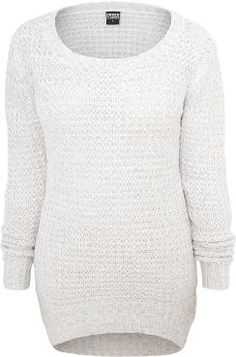 - long fit - knitwear - front shorter than back  Knit jumpers don't just look great, they also keep you perfectly warm. The old white Ladies Long Wideneck Sweater is a great example. The long jumper of Urban Classics is longer on the back as it is on the front and makes quite an impression. Length: 80 cm.