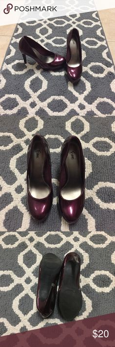 Fiona Platform Heels Shiny maroon heels, 6 inch, perfect for a date night and having an accented color piece for any kind of outfit Kohl's Shoes Heels