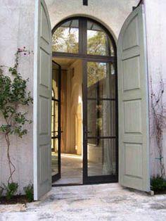 W Bridge House Steel Doors Shutters Architecture Shutter Doors Door Design, Exterior Design, Interior And Exterior, House Design, Craftsman Interior, Craftsman Style, Design Design, Arched Doors, Windows And Doors