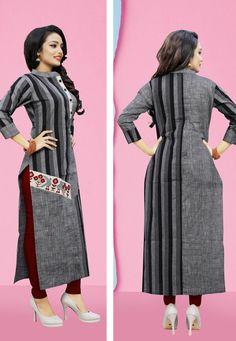 Gray Cotton Readymade Kurti 163983 Kurti Designs Party Wear, Kurta Designs, Blouse Designs, Wedding Dresses Men Indian, Wedding Dress Men, Pakistani Dress Design, Pakistani Dresses, Cotton Anarkali Dress, Hand Painted Dress