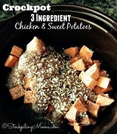 Crockpot 3 Ingredient Chicken & Sweet Potatoes recipe is full of flavor and is clean eating, gluten free and an easy dinner!