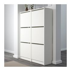 BISSA Shoe cabinet with 3 compartments, white white 19 1/4x53 1/8