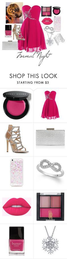 """Formal Night"" by datnerdyfangirl on Polyvore featuring Bobbi Brown Cosmetics, Monsoon, Black Radiance, Butter London, Bling Jewelry, Kate Spade, Pink, Silver, dress and formal"