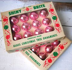 Vintage Shiny Brite Pastel Pink Glass Tree Ornaments