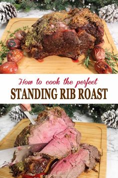Everyone wants to know how to cook the perfect standing rib roast. Just a few simple prep steps, a garlic-herb rub, and the proper cooking temperature will have you turning out the most moist, tender and delicious standing rib roast every time! Rib Recipes, Roast Recipes, Cooking Recipes, Healthy Recipes, Recipies, Game Recipes, Rib Roast Cooking, Cooking Pork Tenderloin, Cooking Turkey
