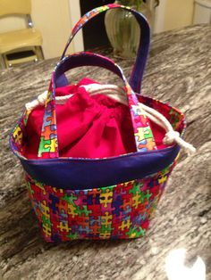 Puzzle piece lunch bag tote on Etsy, $23.00