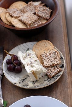Savory Blue Cheese Cake red grapes gluten free crackers  BoulderLocavore.com