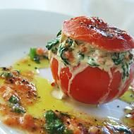 SO much yum in one little thing... tomato stuffed with parmesan, spinach, and mushrooms