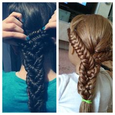 I did this hairstyle,the hairstyle on the left is the photo and right is my version ! It would of looked better if the doll had longer hair ! There was no link so, I decided to figure it out myself. I split the hair into 3's then fishtail braided them, then tied with an elastic, then I took out the elastics when I was done braiding all 3 parts. Then just braided them like an regular braid..