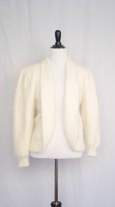 Vintage 1980's 'Snowden' Cream Cashmere Cardigan Sweater Size M by BeehausVintage on Etsy
