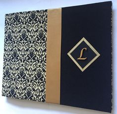 Hey, I found this really awesome Etsy listing at https://www.etsy.com/listing/247760900/black-and-gold-wedding-guestbook-damask