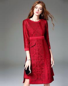#VIPme Red A Line Pierced Midi Dress with Split. Get more fashion inspiration at VIPme.com.