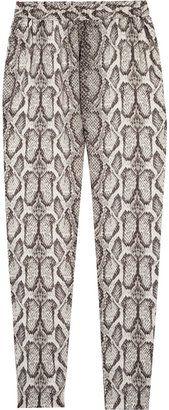 ShopStyle: Helene Berman Snake-print satin pants
