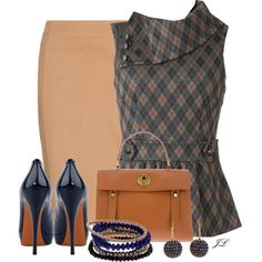 Camel Pencil Skirt by jenalind on Polyvore featuring moda, MANGO, Gucci, Yves Saint Laurent and Shamballa Jewels