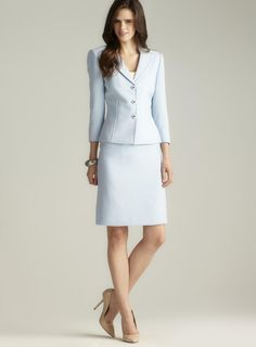Le Suit Tweed Skirt Suit with Scarf - Suits & Suit Separates ...