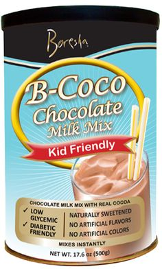 This rich and smooth chocolate drink is part of Boresha's effort to provide healthy, low-glycemic, and kid friendly products to combat the diabetes and obesity epidemics. B-Coco milk mix is made with real cocoa! It is naturally sweetened, with no artificial flavors or colors, and it doesn't contain high fructose corn syrup or sucrose.
