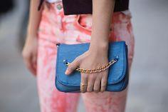 pink pants and coral nails