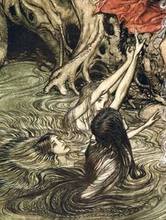 Arthur Rackham (English, 1867-1939, b. Lambeth, London, UK) - Loki, the Norse Trickster God from The Rhinegold & The Valkyrie by Richard Wagner, 1910 Drawings: Pen + India Ink