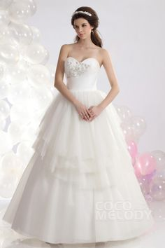 Charming Ball Gown Sweetheart Floor Length Tulle Wedding Dress CWLF1301B #weddingdresses #cocomelody