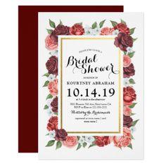 #invitations #wedding #bridalshower - #Elegant Floral Burgundy Gold Fall Bridal Shower Card