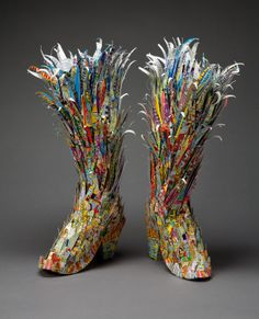 rebecca siemering discarded lottery tickets--wild looking boots Paper Art, Paper Crafts, Paper Shoes, Lottery Tickets, Paper Fashion, Recycled Art, Recycled Jewelry, Recycled Fashion, Assemblage Art