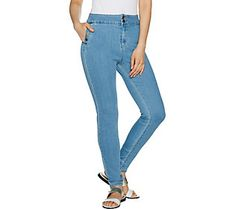 LOGO by Lori Goldstein Button Fly Skinny Jeans w/ Snap Details