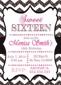 16th birthday invitation  Sweet Sixteen by M2MPartyDesigns on Etsy