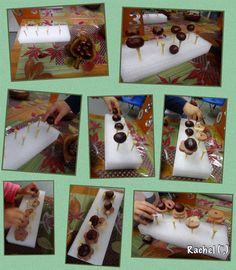 """Autumn Finger Gym... balancing conkers - from Rachel ("""",)"""