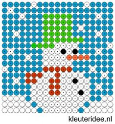 Kralenplank sneeuwpop 2, kleuteridee.nl , free printable  Beads patterns preschool
