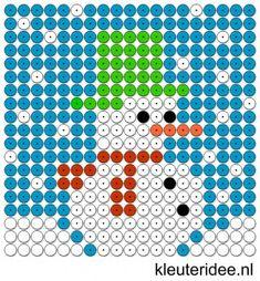 Kralenplank sneeuwpop 2, kleuteridee.nl , free printable Beads patterns preschool