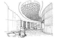 Picture of sketch interior perspective lobby, black and white interior design. stock photo, images and stock photography. Interior Architecture Drawing, Interior Design Sketches, Modern Home Interior Design, Minimalist Interior, Architecture Design, Drawing Interior, Black And White Interior, Black White, Lobby Interior
