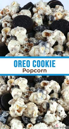 Oreo Cookie Popcorn - sweet and salty popcorn that is chocked full with Oreo Cookies. A yummy Oreo dessert that is super easy to make! Pin this delicious popcorn treat for later and us for more great Popcorn Recipes. Oreo Popcorn, Gourmet Popcorn, Chocolate Covered Popcorn, Marshmallow Popcorn, Popcorn Cake, Candy Popcorn, Popcorn Balls, Snacks Für Party, Easy Snacks