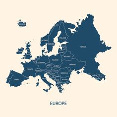 A blue Europe map. Hires JPEG x 5000 pixels) and A blue Europe map. Hires JPEG x 5000 pixels) and file… Photoshop Shapes, Photoshop Brushes, How Many Countries, Eastern Countries, Europe Continent, Best Vpn, Map Vector, Free Fonts Download, Map Design