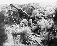 France-Photo shows a German machine gun in use in a trench near Reims, sending a steady stream of load into the advance trenches of the French troops. Pin by Paolo Marzioli