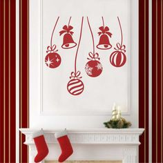 Holiday Vinyl Wall Lettering Christmas Ornaments Decals Decoration