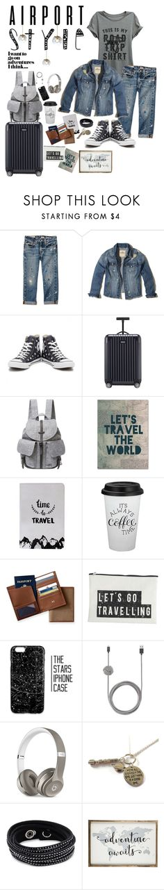 """""""Travel style"""" by nady-beren ❤ liked on Polyvore featuring Thread Tank, Hollister Co., Converse, Rimowa, Herschel Supply Co., Trademark Fine Art, Mark & Graham, House Doctor, Native Union and Beats by Dr. Dre"""