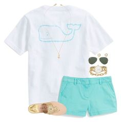 """Preppy summer look"" by lilypackard ❤ liked on Polyvore featuring Vineyard Vines, Jack Rogers, Stella & Dot, Kate Spade, Jeweliq, Ray-Ban, J.Crew, women's clothing, women and female"