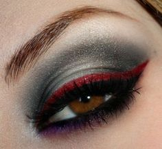 Beautiful! Grey with red eyeliner #makeup