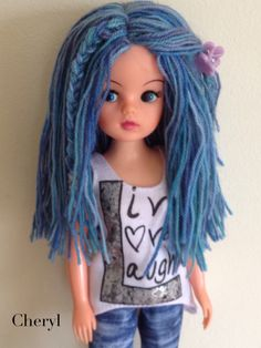 Sindy rerooted with hand dyed merino wool
