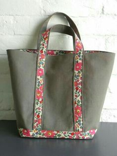 floral and  canvas large tote bag