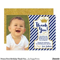 Shop Prince First Birthday Thank You Card Prince Birthday Party, Boys 1st Birthday Party Ideas, King Birthday, 1st Boy Birthday, First Birthday Parties, Birthday Decorations, First Birthdays, Birthday Thank You Cards, First Birthday Invitations