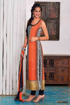 Orange, gray and black color georgette embroidery #churidhar kurti. Matching #dupatta is also available with this.   Price: Rs. 4,295.00
