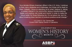 Celebrating #WomensHistoryMonth: @USArmy Lt. Col. Carmen Bell, current ASBP deputy director of operations #military