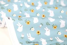 Rabbit fabric Rabbit pattern 44x35 100% Cotton 20s by KoreaBacol