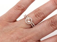 Morganite Engagement Ring Diamond Halo Wedding Set by RareEarth, $1495.00--I'm really loving the peachy pink color of morganite!