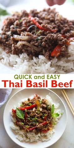 Thai Basil Beef (Pad Gra Prow) This authentic tasting Thai Basil Beef recipe is made with ground beef (or steak) and a homemade thai basil sauce that's easy to customize to your preferred spice level. Thai Basil Recipes, Thai Basil Beef, Asian Recipes, Healthy Recipes, Cheap Clean Eating, Clean Eating Recipes, Healthy Eating, Cooking Recipes, Bulgogi Recipe