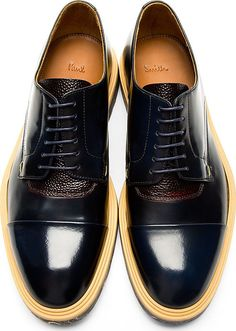 Paul Smith: Navy Marbled Sole Thom Derbys | SSENSE